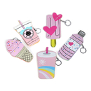(Pack of 5) Aspire Summer Ice Cream/Car/Doughnut/Ball Shape Coin Purses Keychain, Zipper Pouch