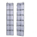 Aspire Shoe Organizers 12 Large Mesh Pockets in Black White Clear Over the Door Hanging Shoe Storage (2 Pack)