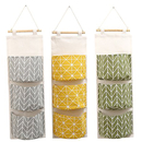 Aspire 3 Pcs Over the Door Hanging Closet Organizer Pouches, Wall Mounted Cotton Linen Fabric Storage Bag with 3 Pockets for Bedroom, Bathroom (Gray, Green, Yellow)
