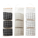 Aspire 3 Color Wall Mounted Storage Bag, Over the Door 3-Grids Pocket Wall Door Closet Hanging Organizer-Black/Gray/White