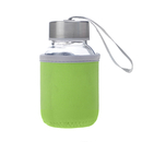 Aspire 5oz Glass Water Bottle with Insulated Sleeve, Stainless Steel Caps with Carrying Loop, Wide Mouth Leakproof Drink Bottles, for Kids