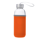 Aspire 14oz Premium Glass Water Bottle with Insulated Sleeve, Stainless Steel Caps with Carrying Loop