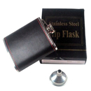 Blank 6 Ounce Leather Hip Flask with Funnel, 3 4/5