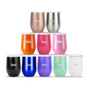 Aspire Personalized 12 Ounce Stainless Steel Wine Glass Tumbler, Add Your Name or Text