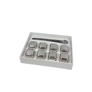 Blank Stainless Steel Whiskey Stones, 8-piece Ice Cubes with Tongs
