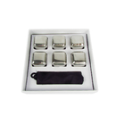 Blank Stainless Steel Whiskey Stones, 6-piece with Storage Bag
