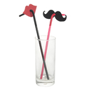 (Pack of 20) Aspire Red Lips and Black Mustache Drinking Straws, Party Supplies
