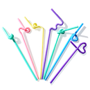 (Pack of 100) Aspire Colorful Flexible Disposable Spoon Drinking Straw