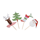(Pack of 40) Aspire Christmas Tree Reindeer Santa Claus Christmas Socks Cupcake Topper Toothpicks, Cocktail Picks, Party Decorations