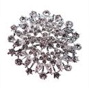 Opromo Womens Crystal Elegant Flower Bridal Corsage Brooch Pin Clear Silver-Tone