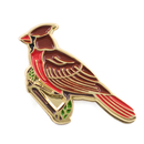 Opromo Red Cardinal Cast Pin Brooch Jewelry Animal Enamel Bird Lapel Pin