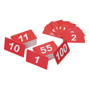 Aspire Double Side Plastic Numbers, 1 to 100, White on Red, Credit Card Size