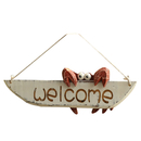 Aspire Wooden Crab Welcome Sign, Single Sided Welcome Hanging Plaque Home Decor