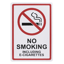 Aspire Plastic No Smoking Including E-Cigarettes Sign with 3M Tape, No Smoking Sign, Indoor or Outdoor Use