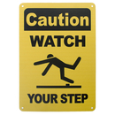Aspire Aluminum Caution Watch Your Step Safety Sign Warning Sign for Indoor and Outdoor Use