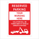 Aspire Custom Rust Free Aluminum Reflective Sign, Reserved Parking Custom Text Unauthorized Vehicles Towed Away (with Tow Symbol)
