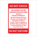 Aspire Custom Rust Free Aluminum Sign, Do Not Knock Do Not Disturb Sign No Soliciting Sign, Red on White