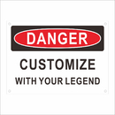 Aspire Customizable Danger Rust Free Aluminum Sign Personalize Add Your Text DIY Metal Sign, Black on White