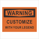Aspire Custom Warning Sign Personalize Add Your Text DIY Rust Free Aluminum Sign, Black on Orange