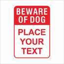 Aspire Custom Reflective Aluminum Sign, Beware of Dog Personalized Rust Free Aluminum Warning Sign, Red on White