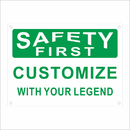 Aspire Reflective Custom Aluminum Sign, Personalized Rust Free Warning Sign Safety First, Green on White