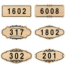Aspire Customized Home Address Plaque Sign, Hotel Office Apartment Number Sign, Personalized Wooden Sign with Acrylic Number, Small Size, Approx 3-1/2 x 7 inches, Indoor Use
