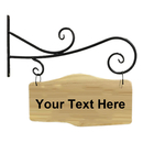 Aspire Customized Number Sign, Personalized Double Sided Wooden Sign with Metal Bracket