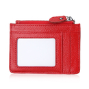 Opromo Genuine Leather Womens Wallets Small RFID Zippered Card Holder with ID Window & Key Chain