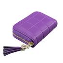 Opromo Square Grid RFID Blocking Credit Card Holder Accordion Design Tassel Leather Wallet
