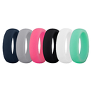(Price/6 Pcs) GOGO Premium Women's Silicone Wedding Rings Wedding Bands - 5.5mm Wide(2mm Thick) - Comfortable Smooth Edge