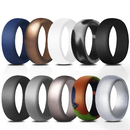 (Price/10 PCS) GOGO Silicone Rings Affordable Rubber Wedding Bands for Men - 8.7 mm Wide