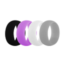 (Price/4 Pcs) GOGO Women's Silicone Wedding Rings Pack - 9 mm Wide (2 mm Thick) - Black, Grey, Lilac, White