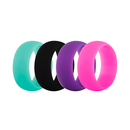 (Price/4 Pcs) GOGO Women's Silicone Wedding Rings Pack - 9 mm Wide (2 mm Thick) - Black, Dark Purple, Hot Pink, Steal