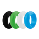 (Price/4 Pcs) GOGO Men's Silicone Wedding Rings Pack - 9 mm Wide (3 mm Thick) - Black, Cyan, Lime Green, White