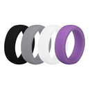 (Price/4 Pcs) GOGO Women's Silicone Wedding Rings Pack - 5.5 mm Wide (2 mm Thick) - Black, Grey, White, Moderate purple
