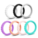 GOGO Stackable Silicone Wedding Rings Premium Women Thin Rubber Bands Active Sports