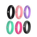 GOGO 6 Pieces Fitness Women's Silicone Wedding Band with Rhinestone, Singles Silicone Bands - 5 mm Wide