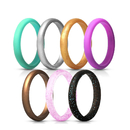 GOGO Silicone Wedding Rings for Women, Thin and Stackable Antibacterial Rubber Band