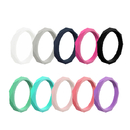 GOGO Hammered Stackable Silicone Rings Premium Fashion Forward Silicone Wedding Band