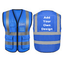 Custom GOGO 5 Pockets High Visibility Zipper Front Breathable Safety Vest with Reflective Strips, Uniform Vest