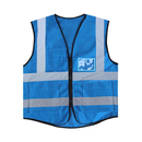 Blank GOGO 5 Pockets High Visibility Zipper Front Breathable Safety Vest with Reflective Strips, Uniform Vest