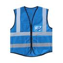 Blank GOGO 5 Pockets High Visibility Zipper Front Breathable Safety Vest with Reflective Strips, Uniform Vest