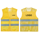 GOGO Custom Unisex 2 Pockets High Visibility Zipper Front Breathable Safety Vest with Reflective Strips