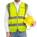 GOGO Custom 8 Pockets High Visibility Zipper Front Safety Vest With Reflective Strips, Meets ANSI Standards