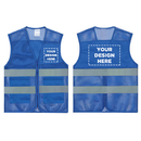 GOGO Custom Blue Mesh Volunteer Vest, 2 Pockets High Visibility Safety Vest with Reflective Strips