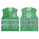 GOGO Add Your Logo - Custom Green High Visibility Safety Vest with Reflective Strips & 2 Pockets