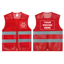 GOGO Custom Team Vest - Red Unisex 2 Pockets High Visibility Mesh Safety Vest with Reflective Strips