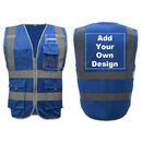 GOGO Customized 9 Pockets High Visibility Reflective Safety Vest Class 2 ANSI, Blue Construction Vest