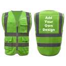 GOGO 9 Pockets High Visibility Reflective Safety Vest Class 2 ANSI, Custom Your Logo Green Outdoor Work Vest