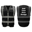 GOGO 9 Pockets High Visibility Reflective Safety Vest Class 2 ANSI, Custom Your Logo Black Protective Workwear